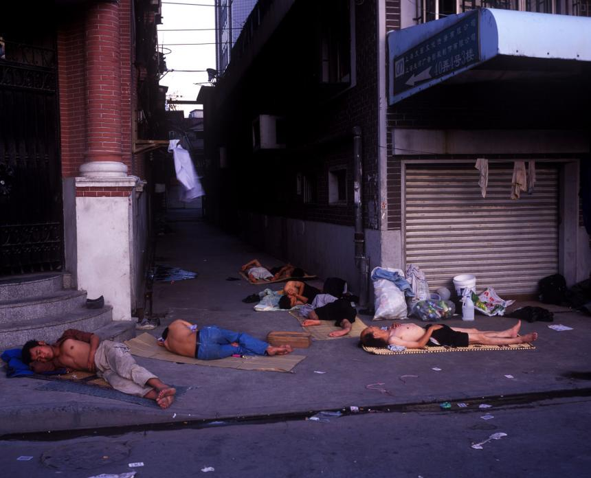 Migrants on Sidewalk, Yuanmingyuan Lu, 2005