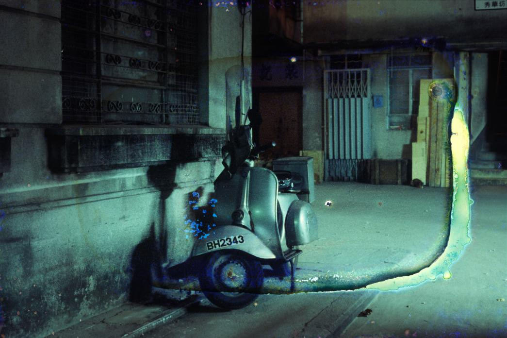 Vespa, (Water Damage), Wanchai. 1983