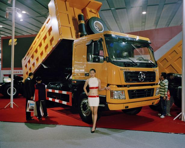 Model with Dump Truck, Guangzhou Auto Show. 'Can China Go Green?' National Geographic, June 2011